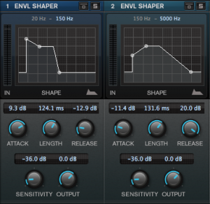 Cubase Pro 8 Envelope Shaper controls