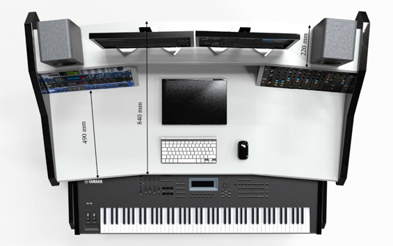 StudioDesk Music-Commander Dimensions Top